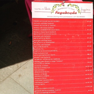 il menu della Vagabonda